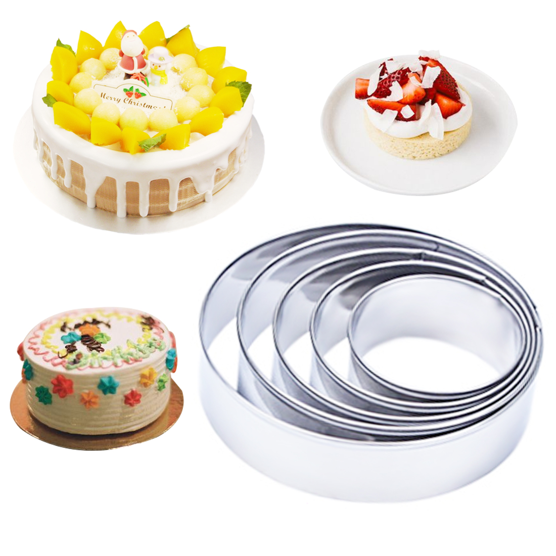 Kitchen DIY Tools 5pcs/set Round Circle Shape Metal Cookie Cutters Fondant Mousse Cake 3D Mold Chocolate Soap Mold Cake Stencils ...