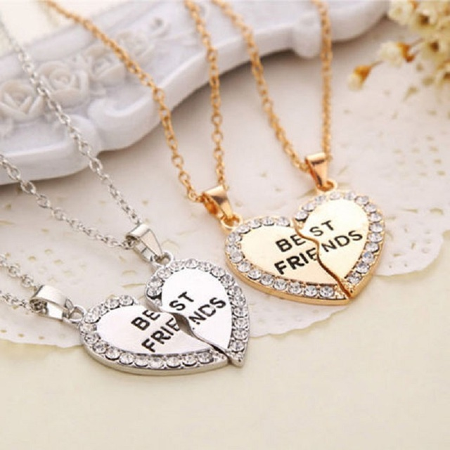d5bcc87378 1 Set Best Friend Necklace Pendant Heart Silver Rhinestone BFF Friendship  Half a Person Necklace for Men Women Fashion Jewelry