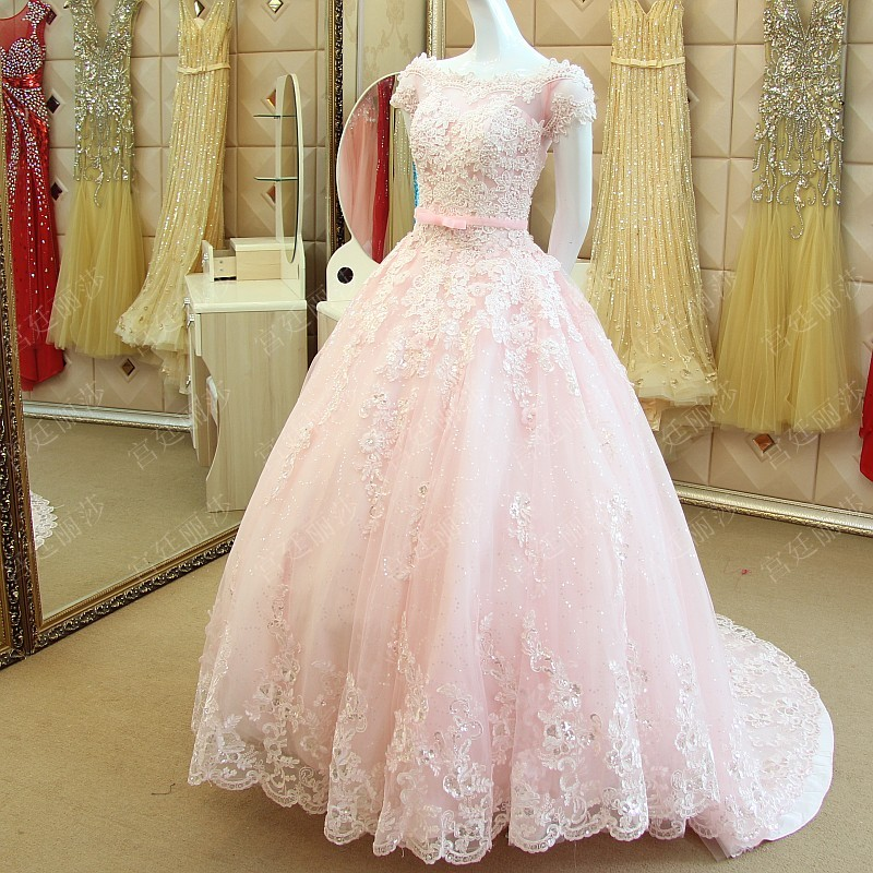 Pink Lace Wedding Gown