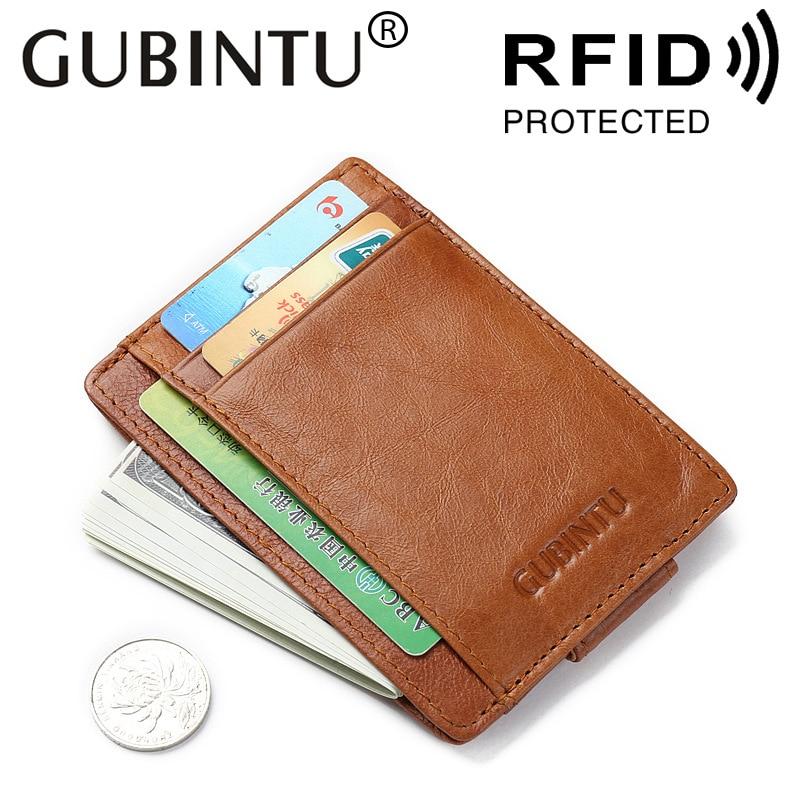a4f14e1e1 100% cuero genuino de aluminio titular de la tarjeta monedero ID RFID  bloqueo Mini cartera