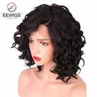 COLODO Short Bob Wigs For Black Women Curly Wave Synthetic Lace Front Wig L Shapped With