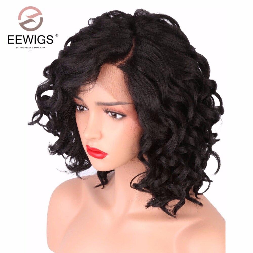 Короткий боб парики для женский, черный объемная волна Синтетический Синтетические волосы на кружеве парик l-образный с естественным роста ...