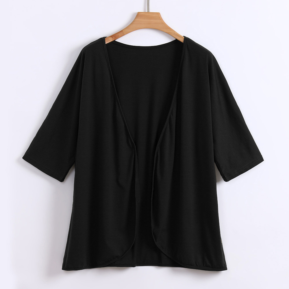 New Fashion Ladies Plus Size XL-4XL Solid Casual Women's Open Front Half Sleeve Loose Lightweight Cardigan