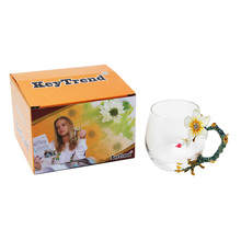 KEYTREND Coffee Mugs Novelty Glass Cups Unusual Flower Enamel Handles Perfect Gifts for Women AECL102