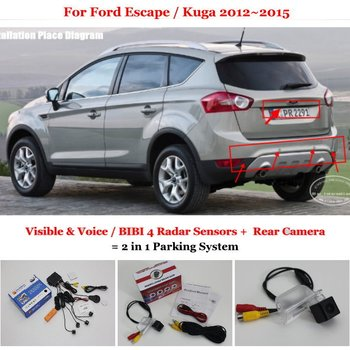 AUTO CAM For Ford Escape Kuga 2012 2013 2014 2015 Car Parking Sensors Rear View BackUp Camera 2 in 1 Visual Alarm Parking System