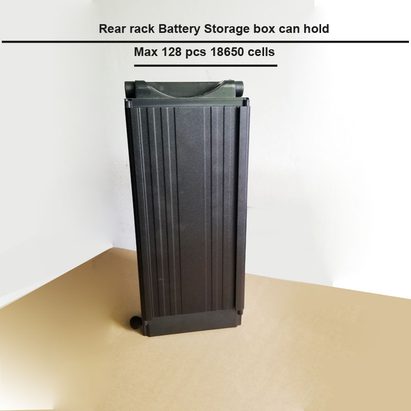 rear rack aluminum battery box and lithium 18650 cell storage aluminum case for 48V 36V or