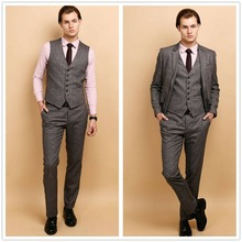 NEW Mens Tweed 3 Pcs Suit Wool Grey Fit Slim Jacket Vest Pants Custom
