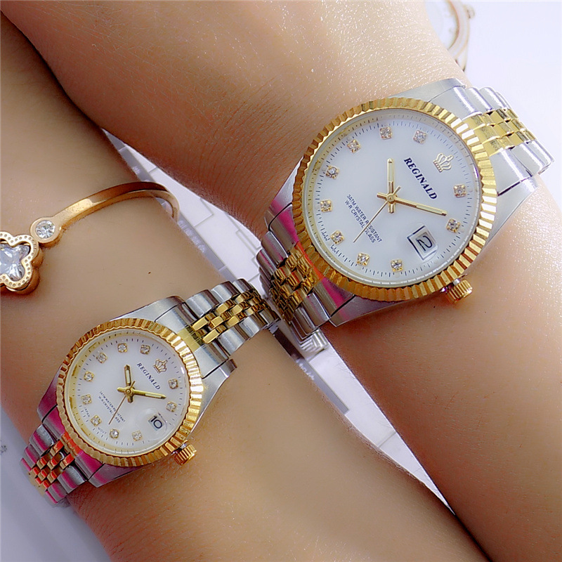 Fashion 2018 Reginald Quartz Watch Men Woman Lovers Luxury Gold Fluted Bezel Diamond Dial Full Stainless Steel Luminous Clock