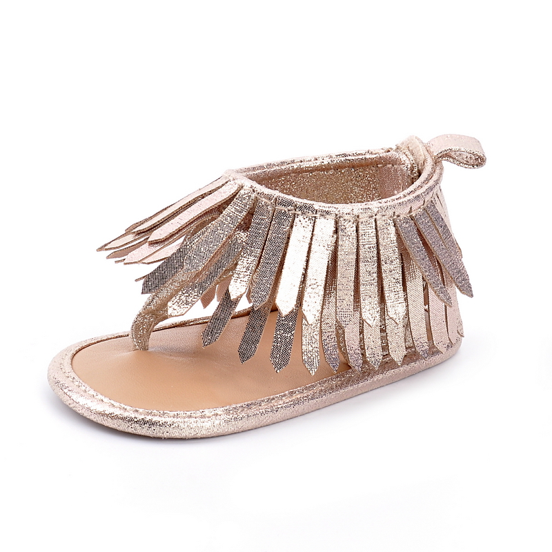 New 2018 Gold fashion tassel summer baby sandals baby moccasins shoes soft sole pu leather child girls boys sandals hot sell