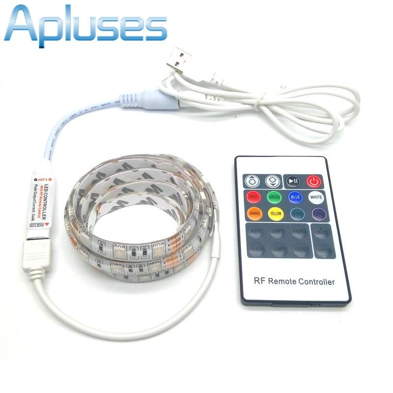 USB LED juosta 5050 RGB 5V IP20 / IP65 Neperšlampama juostelė TV foninis apšvietimas su 20Key RF valdikliu