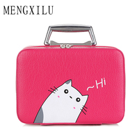 MENGXILU Luxury Women Bling Cosmetic Case Rhinestone Makeup Box Professional Tote Cosmetic Bag Beauty Case For