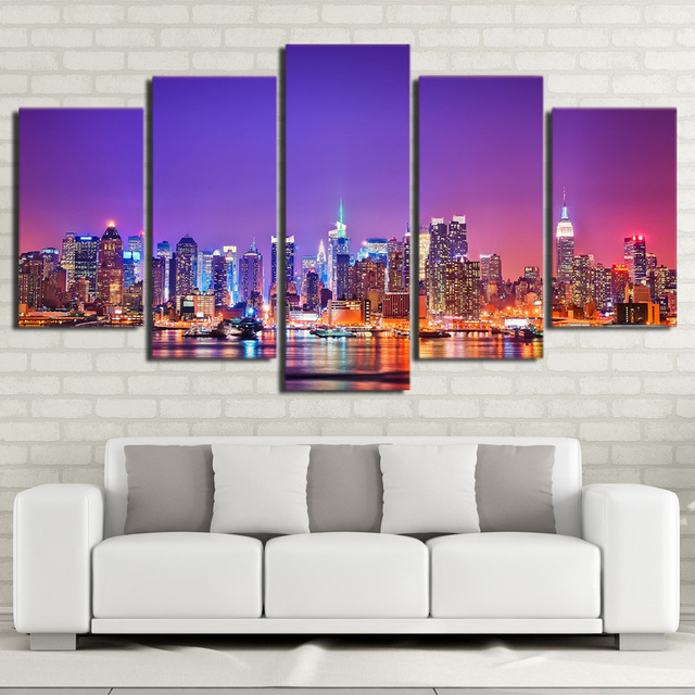 Canvas painting wall art framework 5 pieces new york city skyline night poster modular scenery pictures