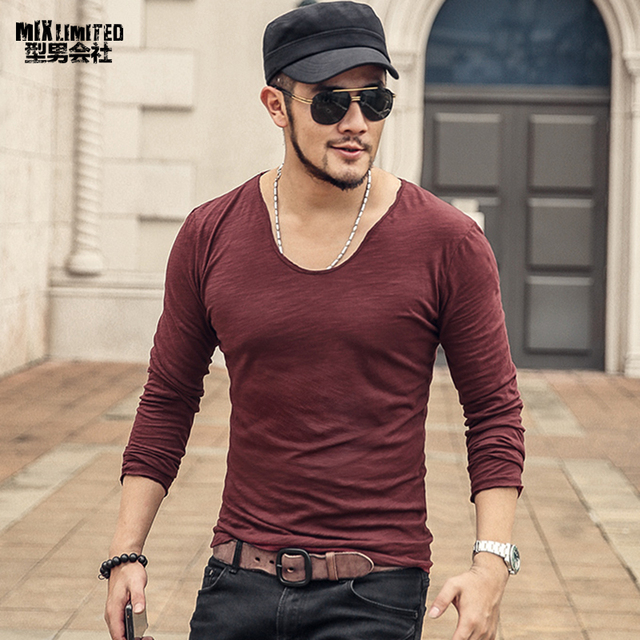 e44877bce7b Men Autumn Wear V Collar Long Sleeve Casual Cotton Bottoming T-shirt  Metrosexual Men Pure Color Slim European Style Top Tees