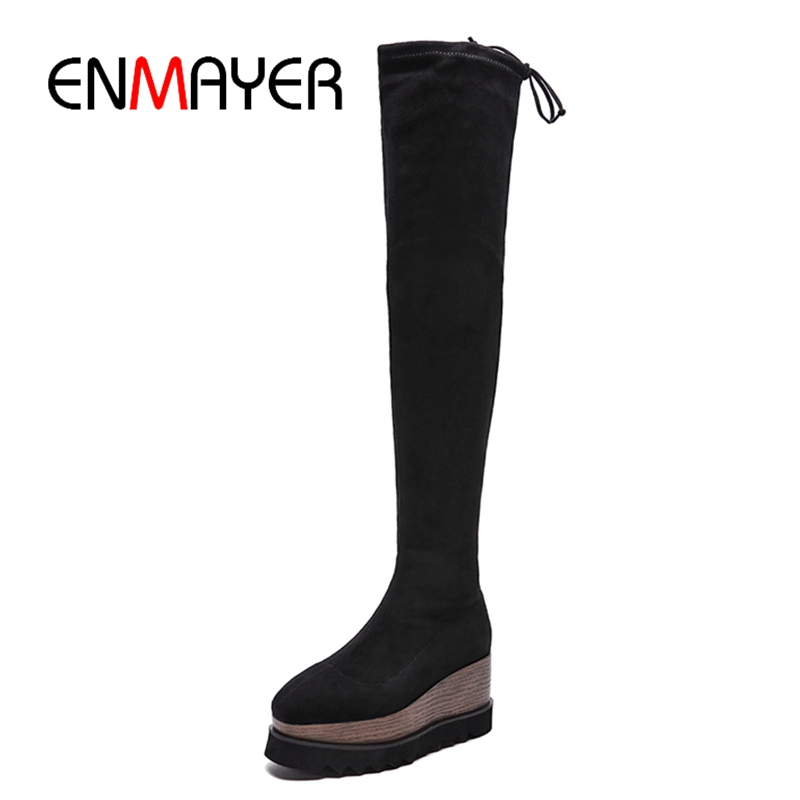 ENMAYER New fashion women boots square toe platform over the knee for high heel ZYL929