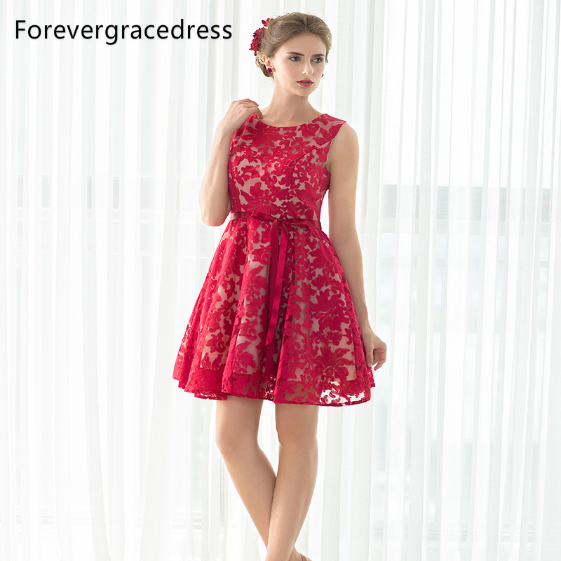 Forevergracedress Real Photos Red Cocktail Dress Sexy Sleeveless Short Lace Homecoming Party Gown Plus Size