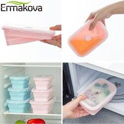 Ermakova 3 ou 4 pces silicone dobrável almoço bento caixa resistente ao calor dobrável recipiente de armazenamento de alimentos com tampa de plástico hermético