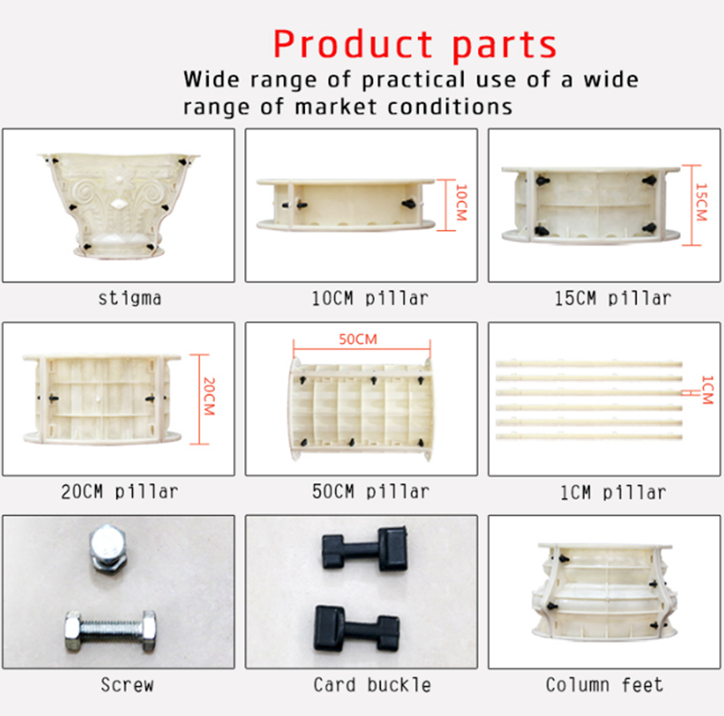 ABS пластиковые римские формы для бетонных колонн G26 40xH370cm Европейская форма для столба строительные формы для сада, виллы, дома