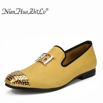 Men Leather Big Size Fashion men Casual Shoes Design Bright Face Buckle and Gold Metal Toe Men Driving Shoes Part Flats