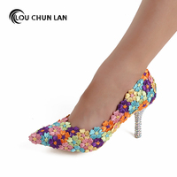 LOUCHUNLAN Women Pumps Colorful Shoes High Heels Wedding Shoes Rhinestone heels appliques Pointed Toe Shoes party shoes