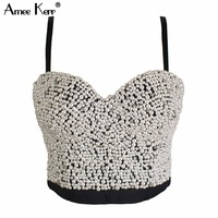 Original High End Hand Made Pearl Bead Jewels Pad Cropped Top Women S Vest Bralet Bra