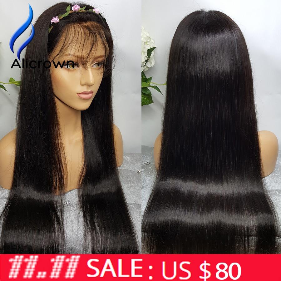 ALICROWN 130 180 Density Full Lace Human font b Hair b font Wigs For Black Women
