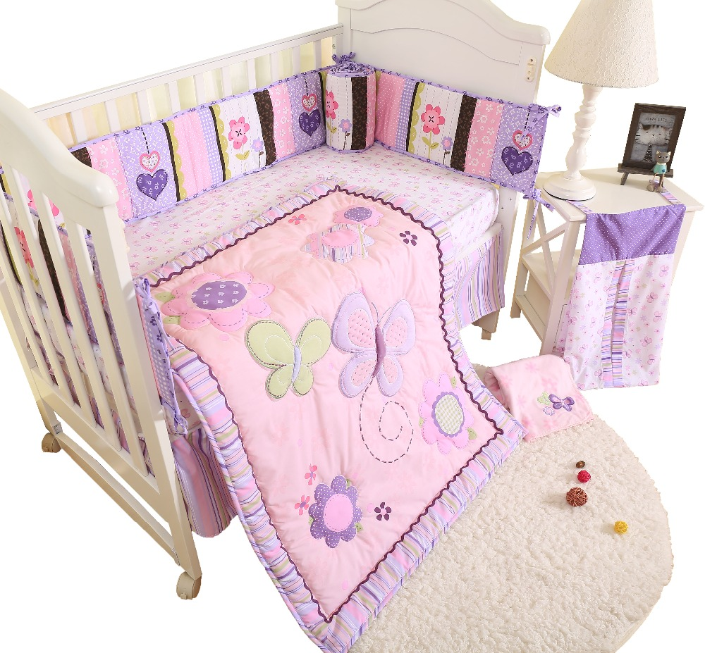 Butterfly  Baby Bedding Set Children 4 Pcs Set Baby Cot Cotton Cartoon Animal Pattern Bedding Sheets Include Comforter