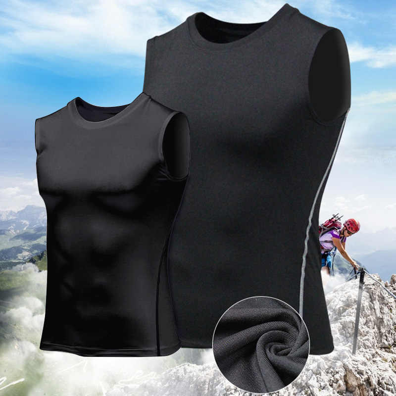 2019 New Men Compression Quick Drying T-Shirt Vest Sleeveless Stretch Gym Sports Tank Tops 19ing