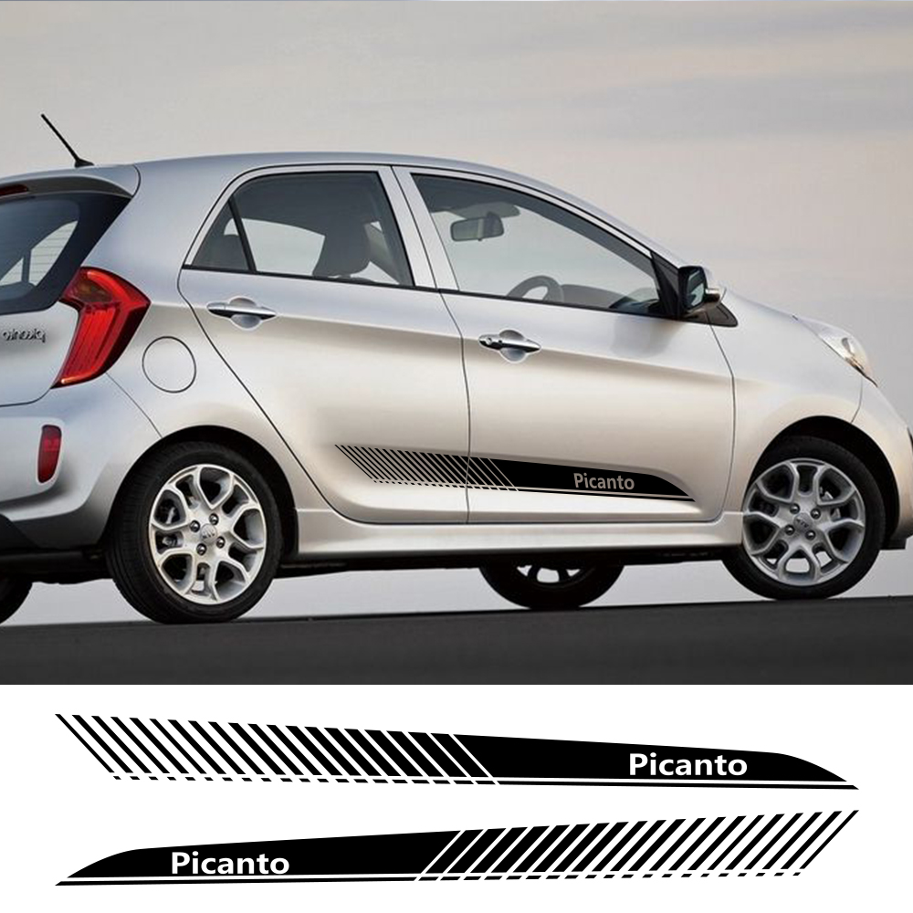 2pcs Car Side Stripe Sticker Vinyl Film Auto Racing Sports Decals Decoration For KIA Picanto Tuning DIY Styling Car Accessories|Car Stickers| |  - title=