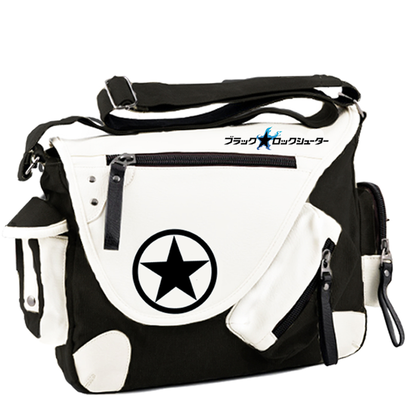 ФОТО Cartoon Anime Black Rock Shooter BRS Cosplay Messenger Bags Canvas Shoulder School Travel Book Bags