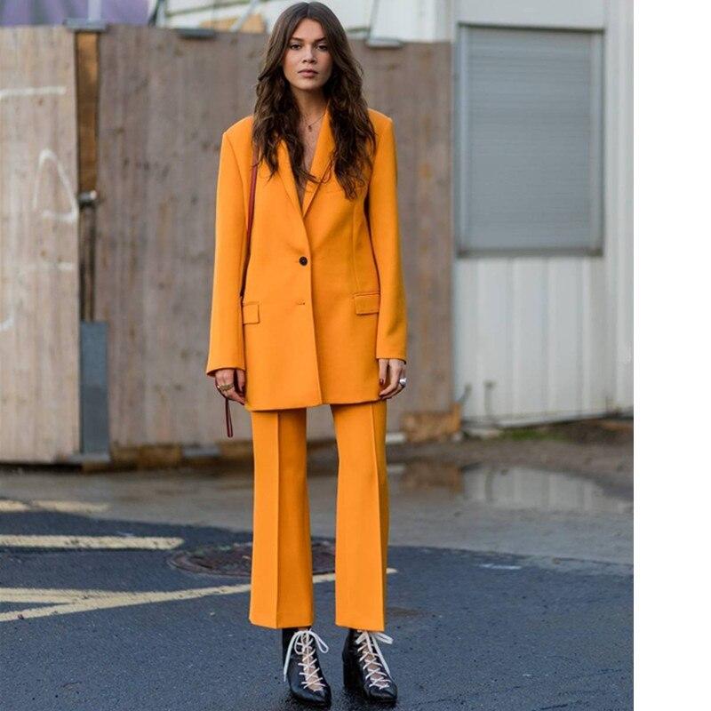 11-1Women's blazer + trousers set 2019 autumn casual elegant ladies pants suit yellow dress pants suit ladies business suit suit