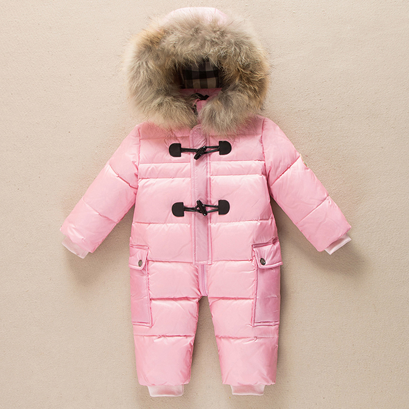 Baby snowsuit winter infant boys girls outfits real raccoon fur collar hooded thermal toddler jumpsuits snow wear