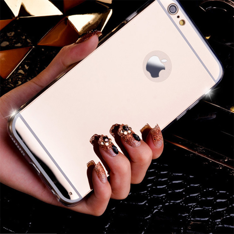 DREAMYSOW New Fashion Soft TPU Back Cover Mirror Case For iPhone 5 5s 4 4S SE 6 6S 7 plus Bling Back cover case Quality Shell