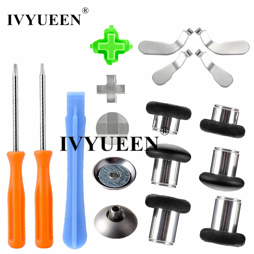 IVYUEEN Magnetic Analog Thumb Sticks Grips for XBox One X S Elite Controller Swap Sticks Caps with Metal Dpads Buttons Mod Kit