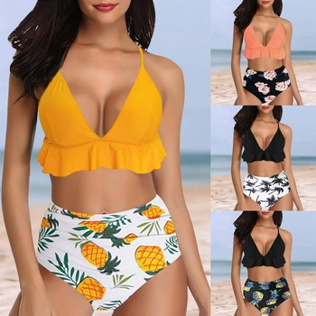 Vertvie Women Swimsuit Ruffle Printed Bikini Set Two Pieces High Waist Push Up Bathing Suit Sexy Beach Wear Summer Swimwear