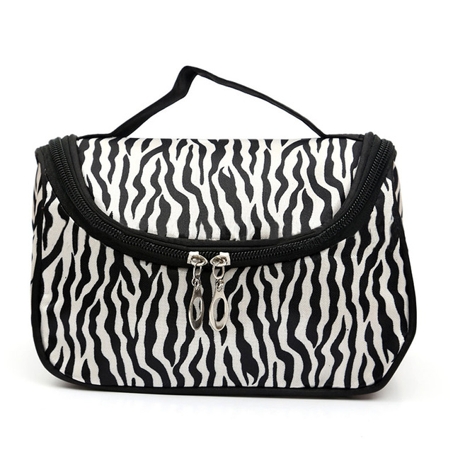 Zebra-stripe Makeup Bag Patent Leather Waterproof Cosmetic Pouch Travel Handbag Casual Purse For Ladies LXX9