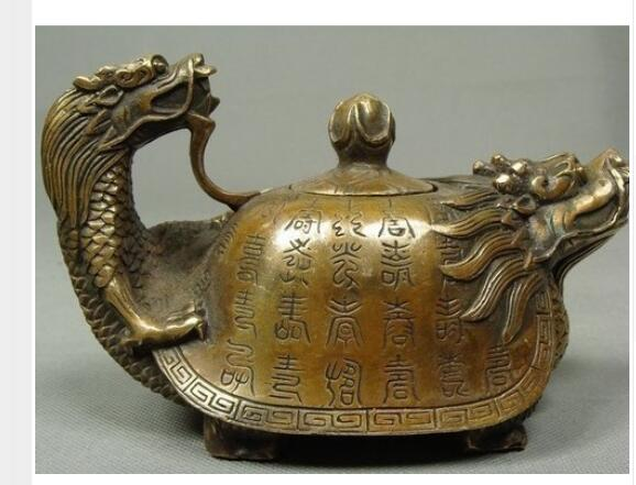 Decorated Old Bronze Chinese Old Copper Handwork Dragon Tea Pot Antique crafts Copper sculpture home
