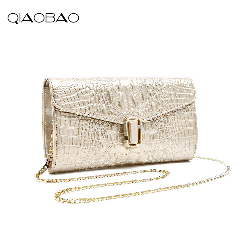 QIAOBAO Famous Genuine Leather Bags Women Crocodile Pattern Leather Shoulder Bag Evening Clutch Wallet Purse Chain Messenger Bag цена