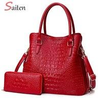 Fashion Crocodile Leather Handbags Women Shoulder Bags Solid Casual Tote Bag Ladies Large Capacity Hand Bag