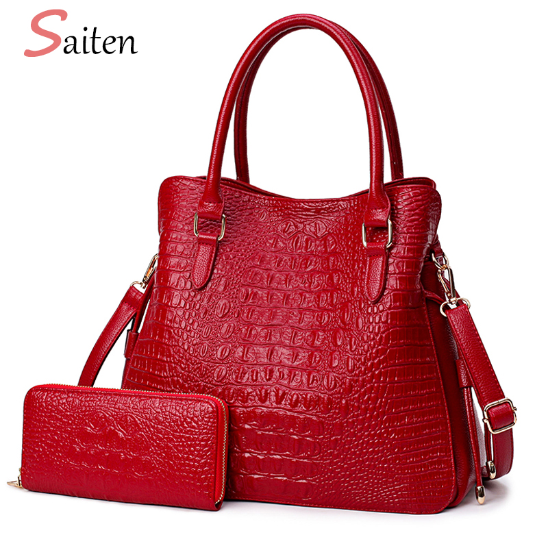 Fashion Crocodile Leather Handbags Women Shoulder Bags Solid Casual Tote Bag Ladies Large Capacity Hand Bag Women Sac A Main zackrita genuine leather luxury handbags women bags designer new 2017 large solid tote bag ladies bolsa sac a main bolsos b80