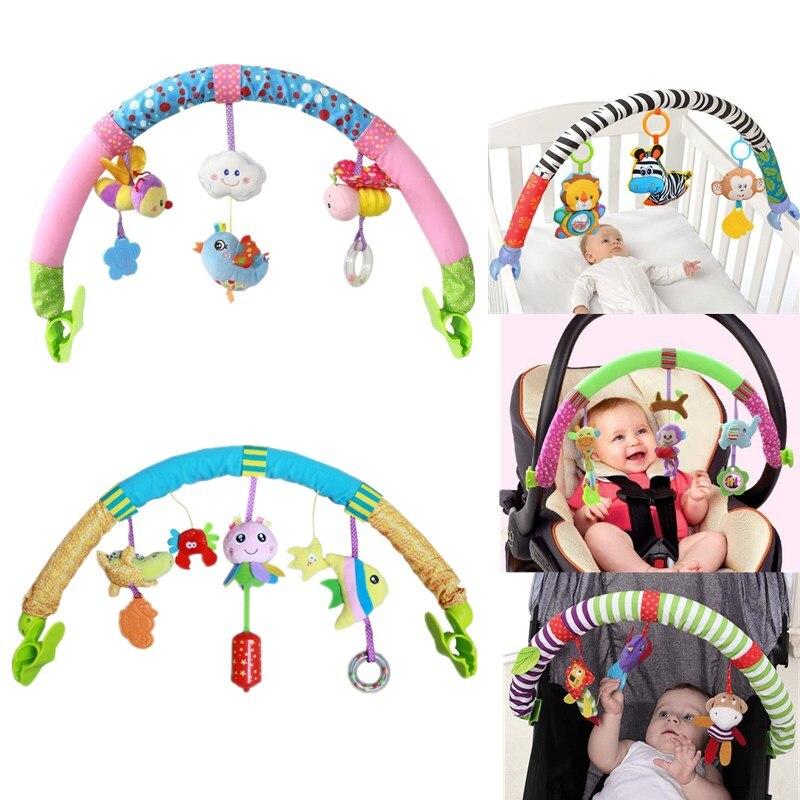 Venda quente encantadores Stroller Torno Berço Pendurado brinquedos do jogo do bebê Do Assento de Carro de Viagem do bebê recém-nascido Brinquedos educativos chocalhos móvel