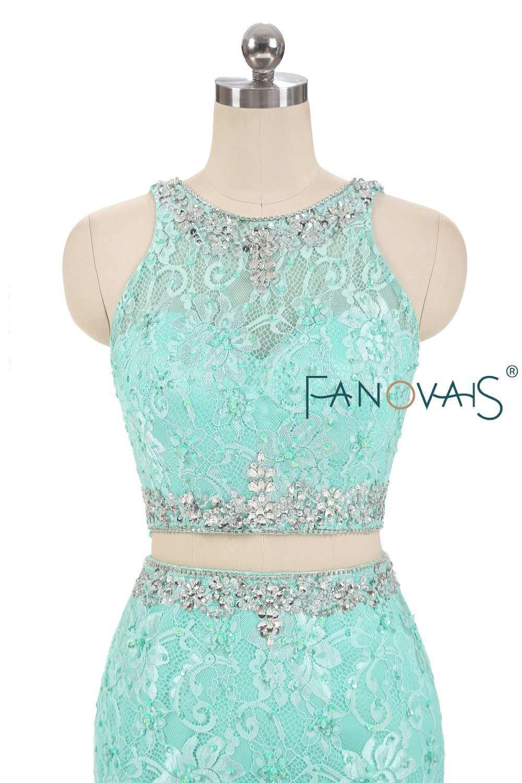 56d8b2af6 ... Menta verde Quinceanera Vestido de dos piezas del baile de graduación  vestidos de encaje Vestido de ...
