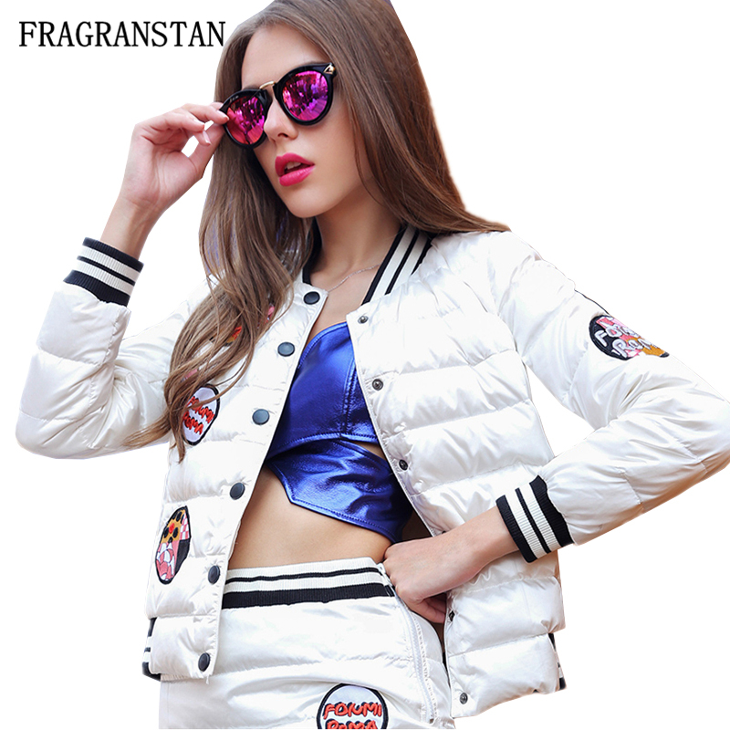 Designs 2018 Haute Stand Mode Jacket Hiver Paraks Qualité White Femmes Femme Collar Manteau Automne Down Lettre Casual Q753 Patch rq6Fr7