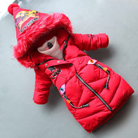 BibiCola 2018 girls coats winter new casual cartoon long dowm hoodie clothing children cartoon thicken coats kids warm jackaets