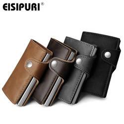 Для мужчин кожа алюминиевый кошелёк с задним карманом ID держатель для Карт RFID Блокировка мини-волшебный кошелек автоматические