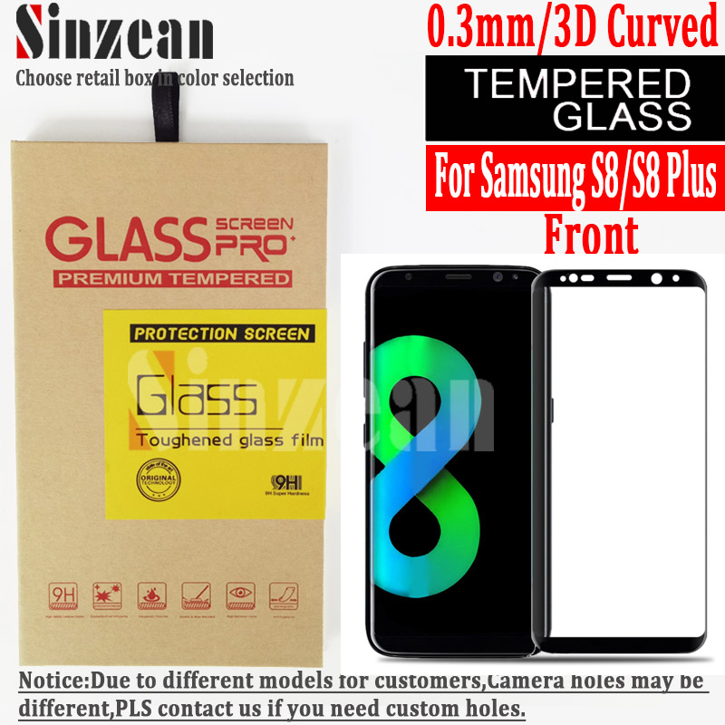 imágenes para Sinzean 100 unids 3D Curva Para samsung galaxy S8/S8 plus 3D Curva completa cubierta protector de pantalla de cristal templado
