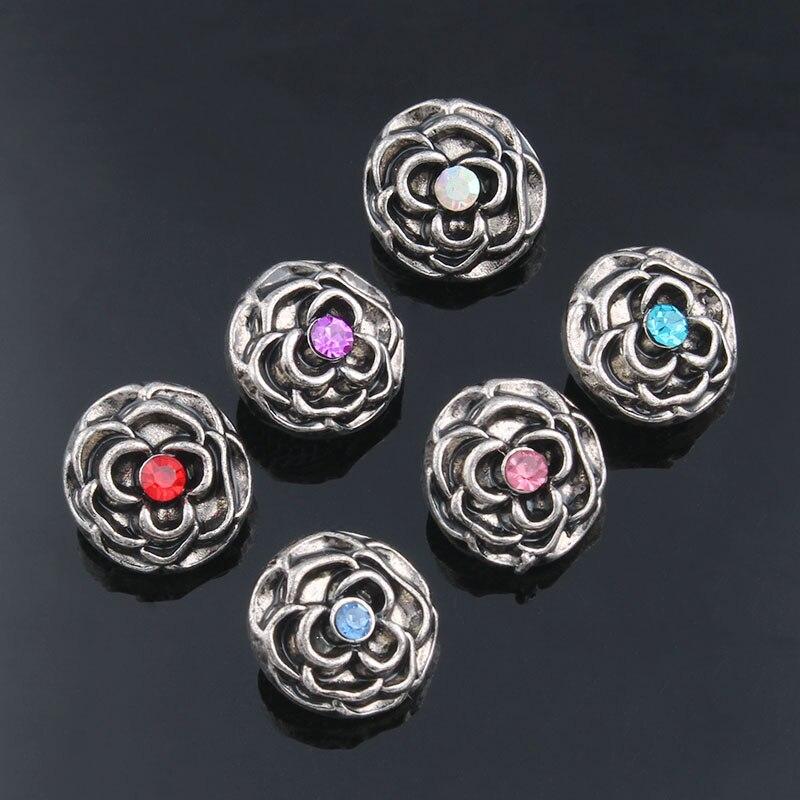 10Pcs/lot Xinnver Snap Button Jewelry 6 Color Metal Flower Snap Mini Buttons Fit 12mm Snap Bracelets Bangles ZL009 snap button jewelry