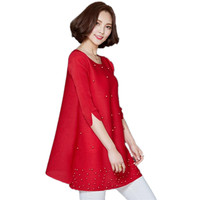 Plus Size Women Blouses 2017 Three Quater Sleeve Chiffon Blouse Shirt Korean Casual Loose Elegant Ladies
