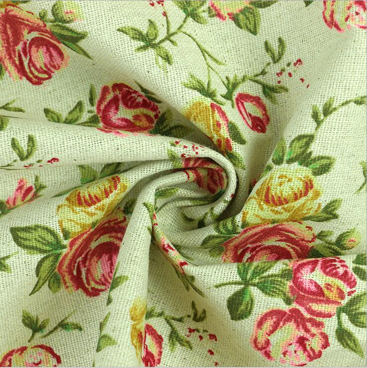 100*150cm Linen Fabric Pink Rose Printed Nature Clothes,table Cloth,bag Etc