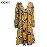 GOKIC 2017 New Autumn Women Boho Floral Print Dress Female Long Sleeve Loose Short Dress Vintage