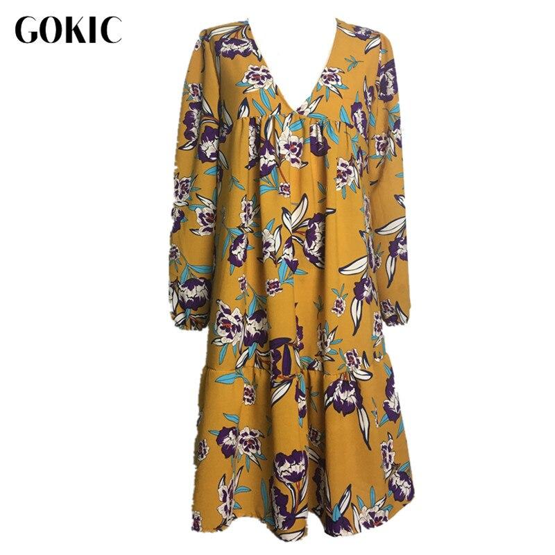 GOKIC Franchised Store GOKIC 2017 New Autumn women Boho Floral print dress Female Long sleeve loose short dress Vintage Elegant  Yellow dress vestidos